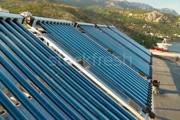Vacuüm zonne water verwarming huis dak Stockfoto © vapi