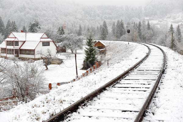 Stock photo: Railway in snow