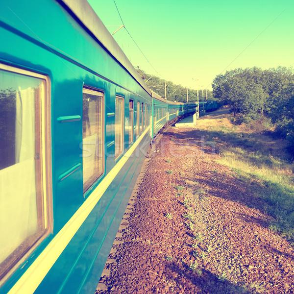 Mozgás vonat kék vagon városi közlekedés Stock fotó © vapi