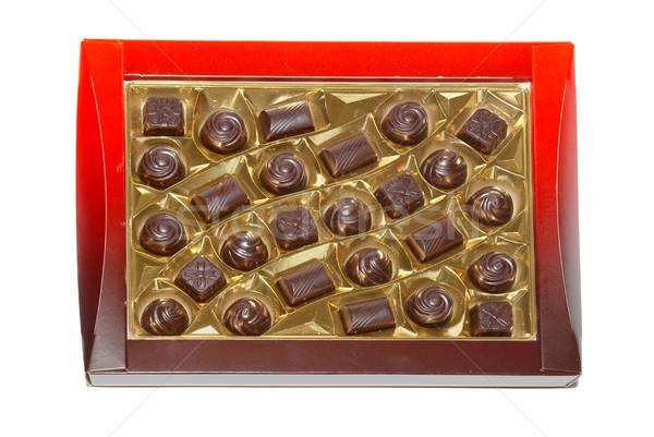 Sorted chocolate candies box isolated on white. Stock photo © vapi