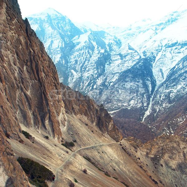 表示 ヒマラヤ山脈 山 男 立って パス ストックフォト © vapi