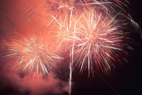 Colorido férias fogos de artifício vermelho preto céu Foto stock © vapi