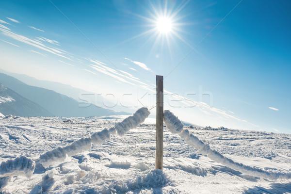 çit kar kış alpine köy dondurulmuş Stok fotoğraf © vapi