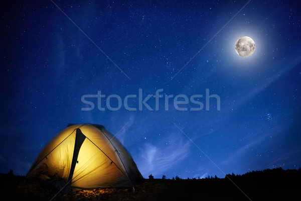 Zdjęcia stock: Pomarańczowy · kemping · namiot · księżyc · gwiazdki
