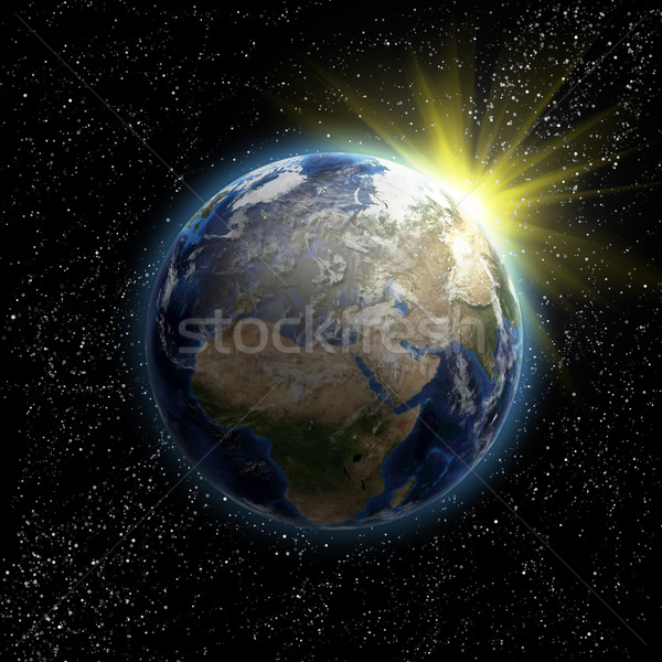 Foto stock: Sol · estrelas · planeta · terra · espaço · 3D · imagem