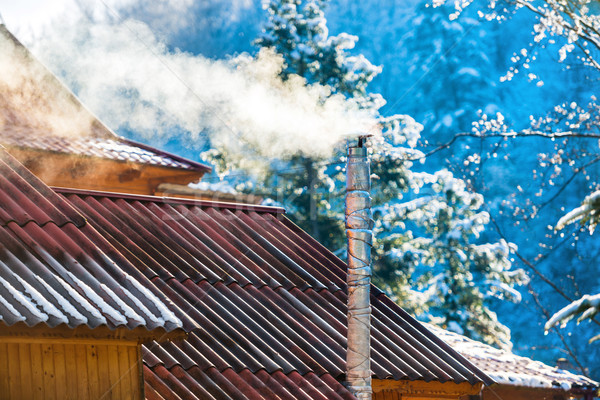 Smoke from the chimney on the roof Stock photo © vapi