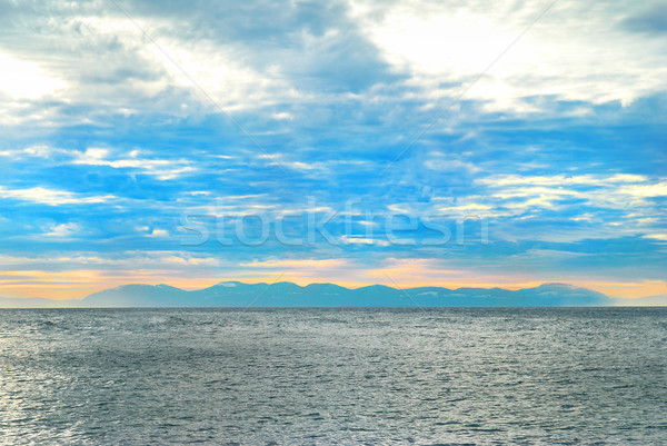 Pôr do sol mar ilha costa norte Vancouver Foto stock © vapi