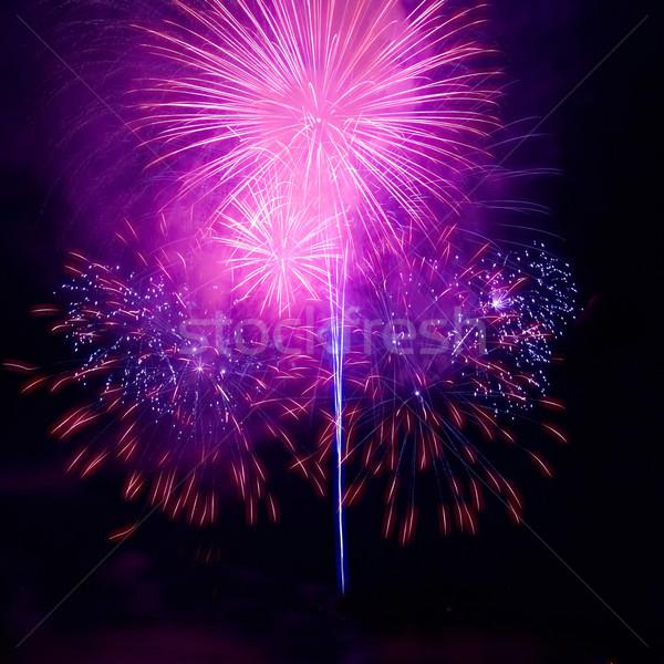 красочный фейерверк черный небе воды огня Сток-фото © vapi
