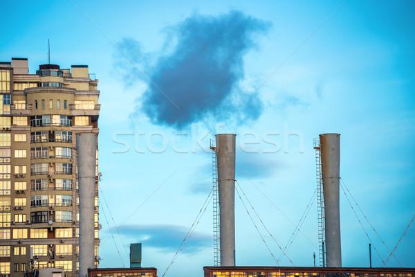 Przemysłowych czarny toksyczny dymu rury węgiel Zdjęcia stock © vapi