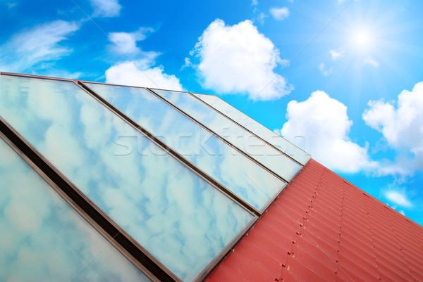 ストックフォト: 太陽系 · 赤 · 家 · 屋根 · ビジネス · 水