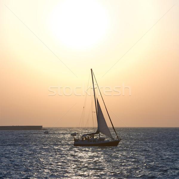 Velejar barco mar pôr do sol colorido marinha Foto stock © vapi