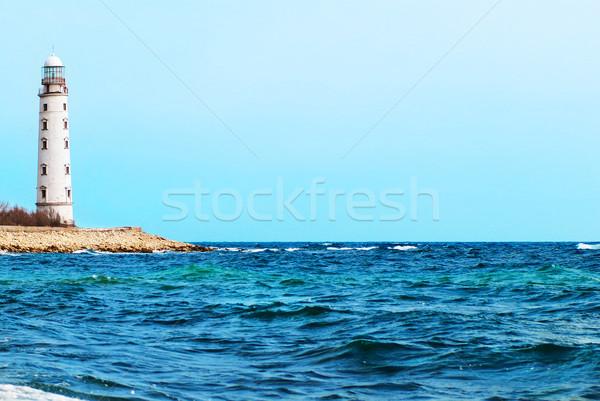 Foto stock: Faro · costa · edad · mar · tormenta · olas