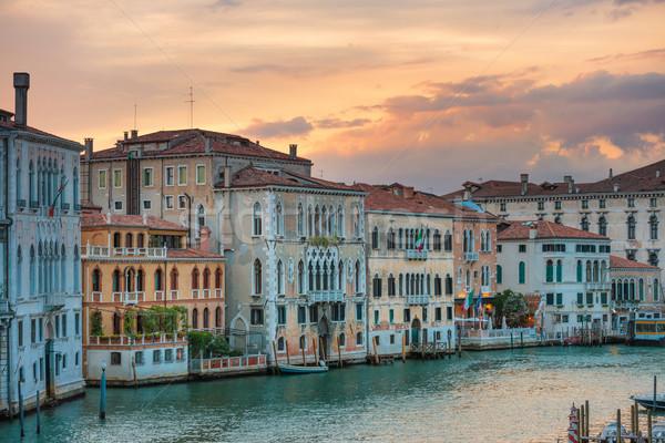 Csatorna Velence Olaszország naplemente híres város Stock fotó © vapi