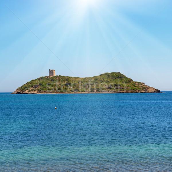 Cozy tropical island surrounded by blue sea Stock photo © vapi