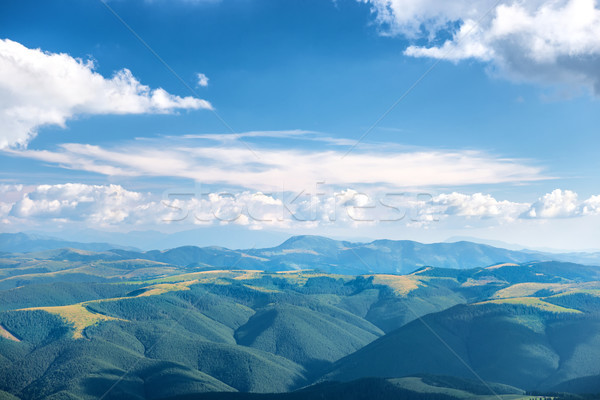 Foto d'archivio: Panorama · blu · montagna · foresta · bianco · nubi