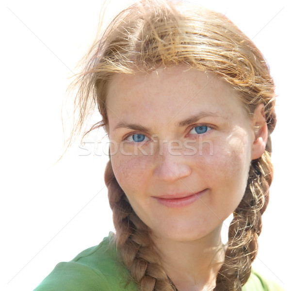 Portrait of young woman with pigtails Stock photo © vapi