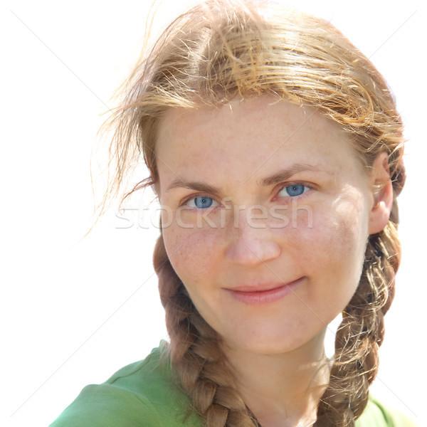 Portré fiatal nő vörös haj szeplők izolált fehér Stock fotó © vapi
