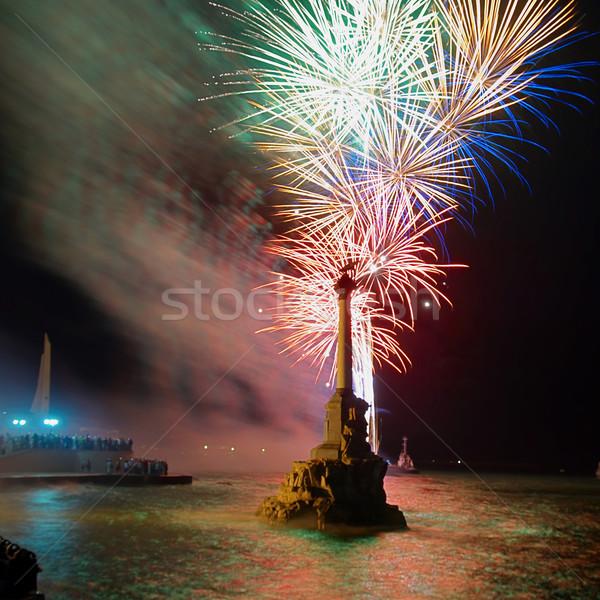 Salute, fireworks above the bay. Stock photo © vapi