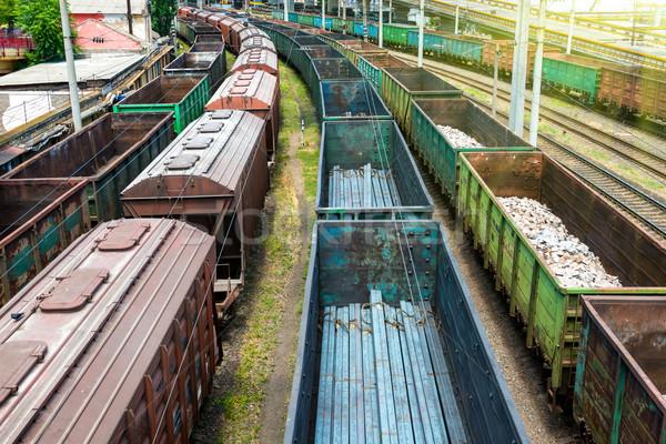 Sok vonatok teher üzlet vonat kék Stock fotó © vapi