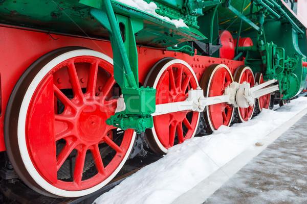 ストックフォト: 古い · ホイール · 鉄道 · トラック · クローズアップ