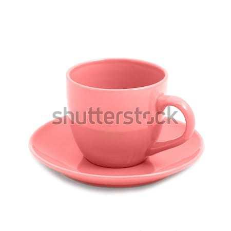 Pembe çay fincanı fincan tabağı yalıtılmış beyaz doğa Stok fotoğraf © vapi