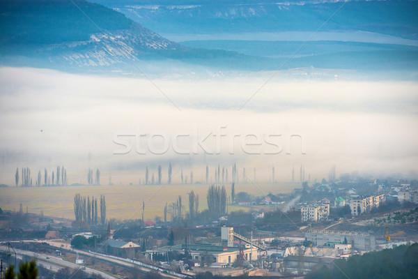 Misty città alberi edifici tramonto cielo Foto d'archivio © vapi