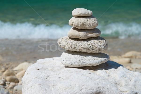 Torre pedras pedra blue sky mar água Foto stock © vapi