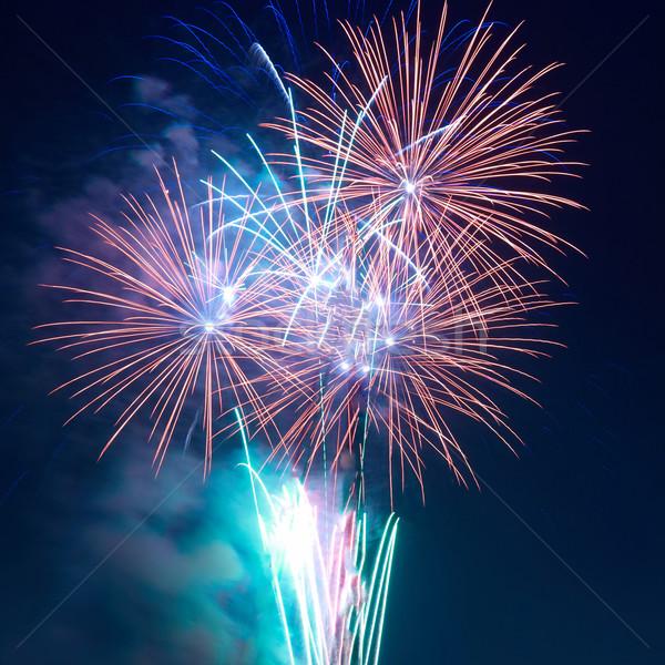 Colorido fogos de artifício preto céu feliz luz Foto stock © vapi