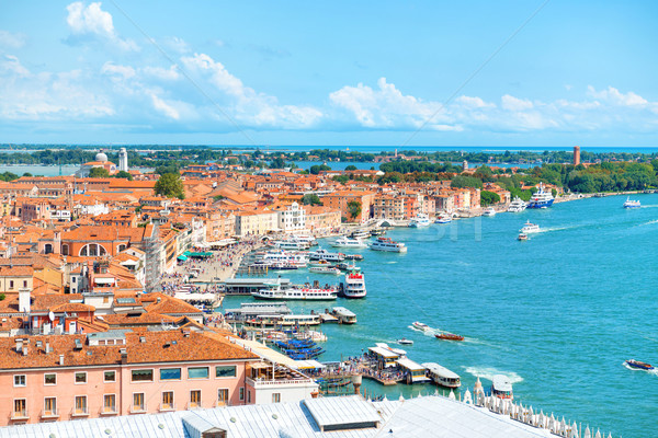 Stock photo: View from Campanile bell tower on boats and ships in Grand Canal