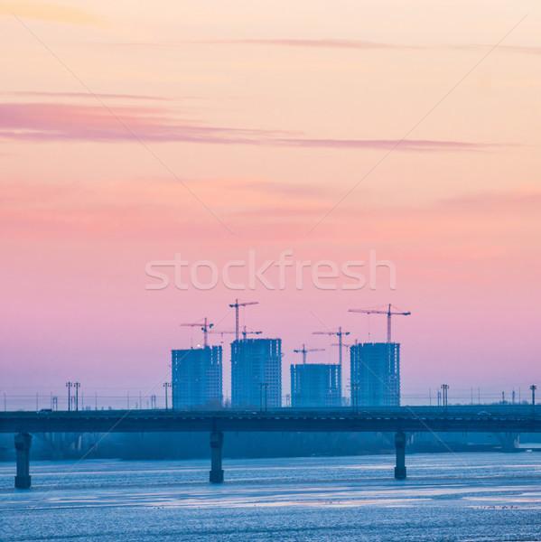 захватывающий закат моста реке небе Сток-фото © vapi
