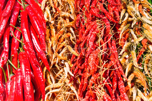 Red and green hot chilly peppers Stock photo © vapi