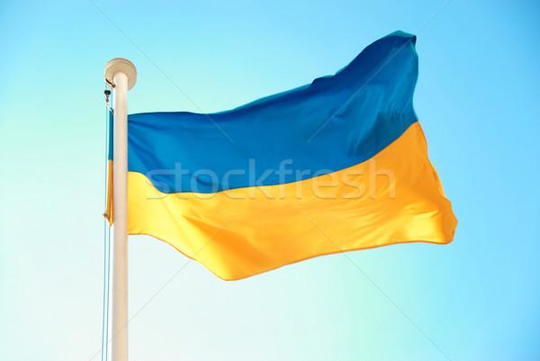 Vlag Blauw Geel hemel licht teken Stockfoto © vapi