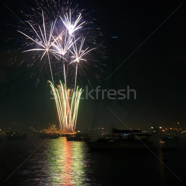 красочный праздник фейерверк красный черный небе Сток-фото © vapi