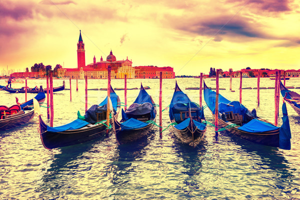 Gondolas at sunset Stock photo © vapi