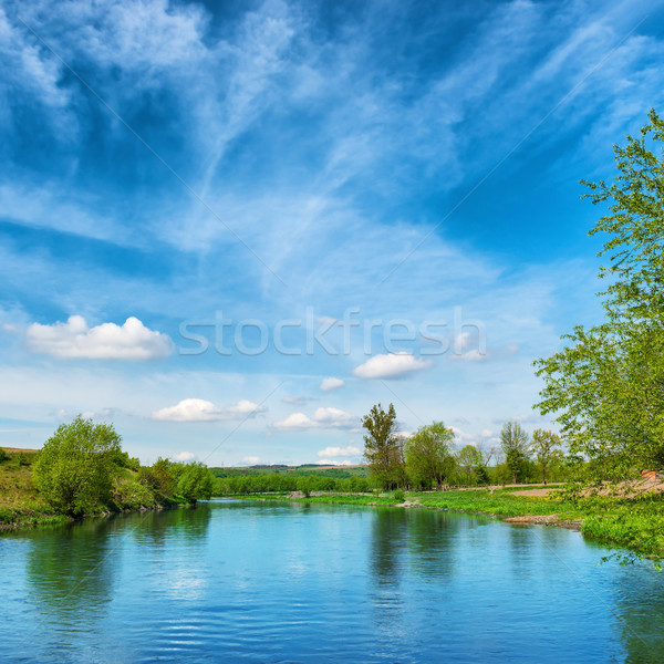 View to river banks with green trees Stock photo © vapi