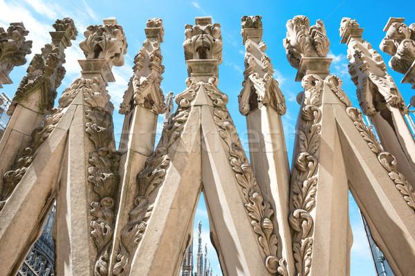 Tetto noto milano cattedrale bianco marmo Foto d'archivio © vapi