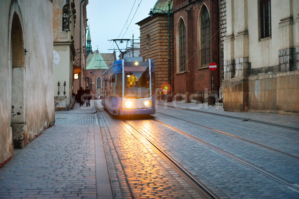 Tram on european city street Stock photo © vapi
