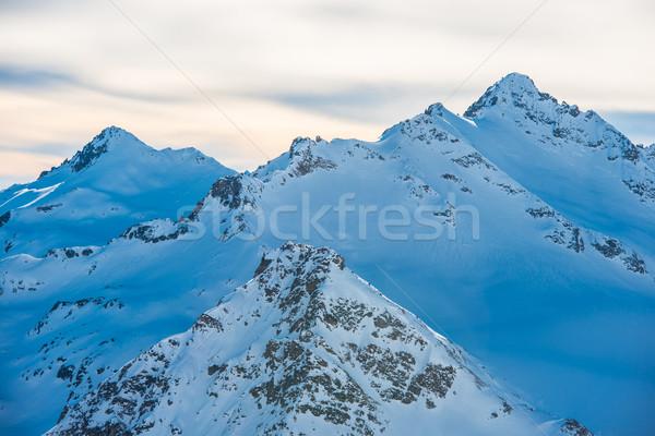 синий гор облака зима лыжных курорта Сток-фото © vapi