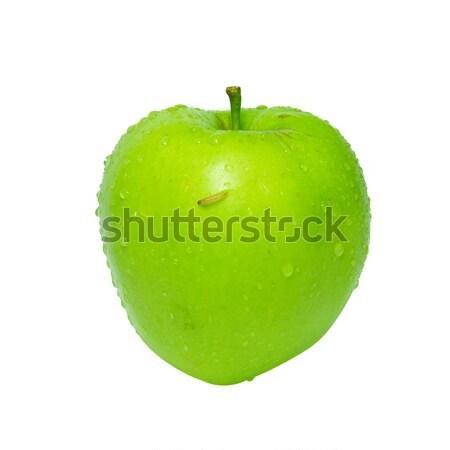 зеленый яблоко Caterpillar изолированный белый саду Сток-фото © vapi