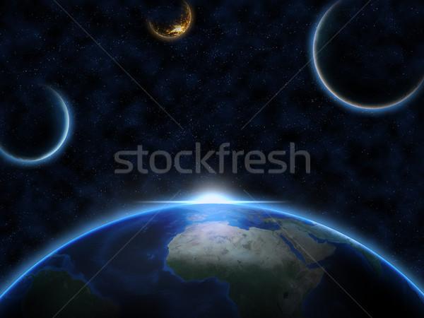 Stockfoto: Aarde · ruimte · twee · vreemdeling · zonsopgang · wereldbol