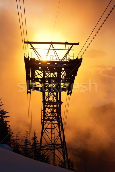 Pôr do sol inverno floresta silhueta cabo trilho Foto stock © vapi