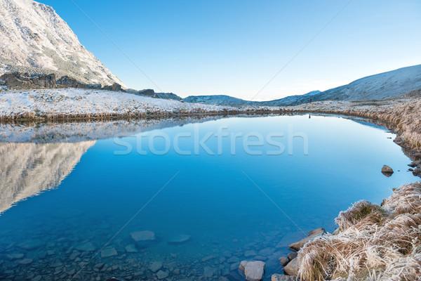 美しい 青 湖 山 午前 日の出 ストックフォト © vapi
