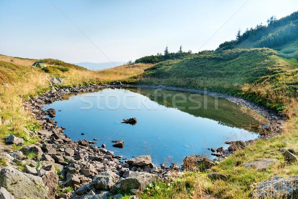 Mavi su dağ göl kayalar gökyüzü Stok fotoğraf © vapi