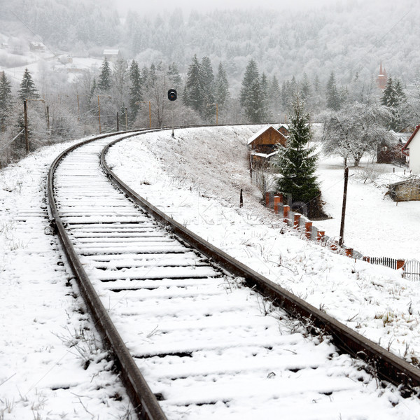 Stock photo: Railway in snow