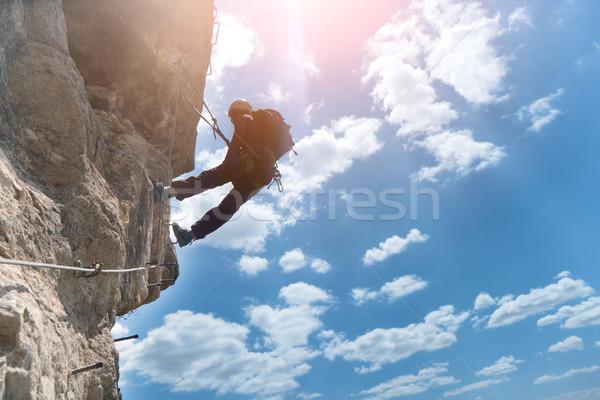 Siluet tırmanma kaya spor arka plan egzersiz Stok fotoğraf © vapi