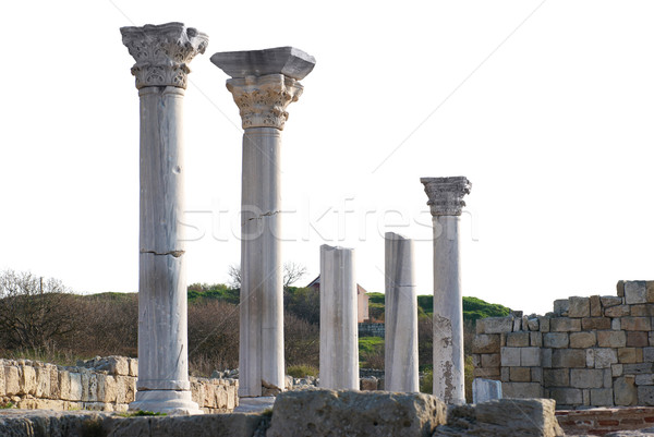 Oude kasteel kolommen geïsoleerd witte bouw Stockfoto © vapi