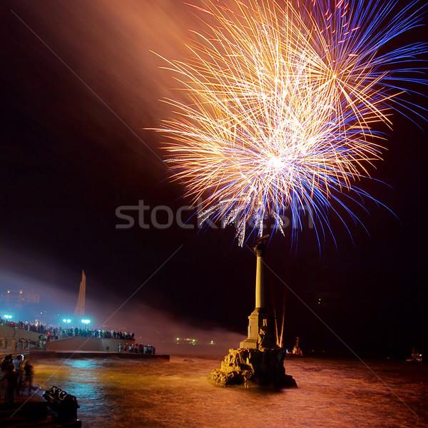 Salute, fireworks above the bay. Sevastopol. Stock photo © vapi