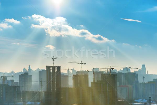 Construction site with cranes Stock photo © vapi