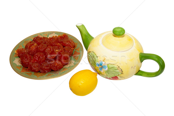 çay fincanı meyve şeker limon yalıtılmış beyaz Stok fotoğraf © vapi