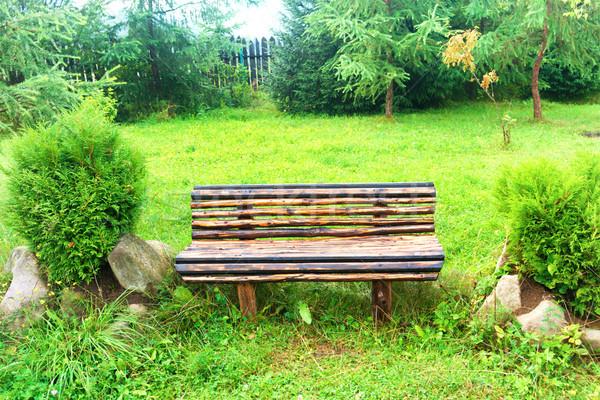 Stok fotoğraf: Ahşap · bank · yeşil · park · çim · yeşil · ot